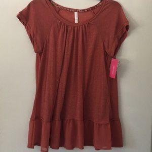 Xhilaration Burnt Orange Rust Ruffle T Shirt